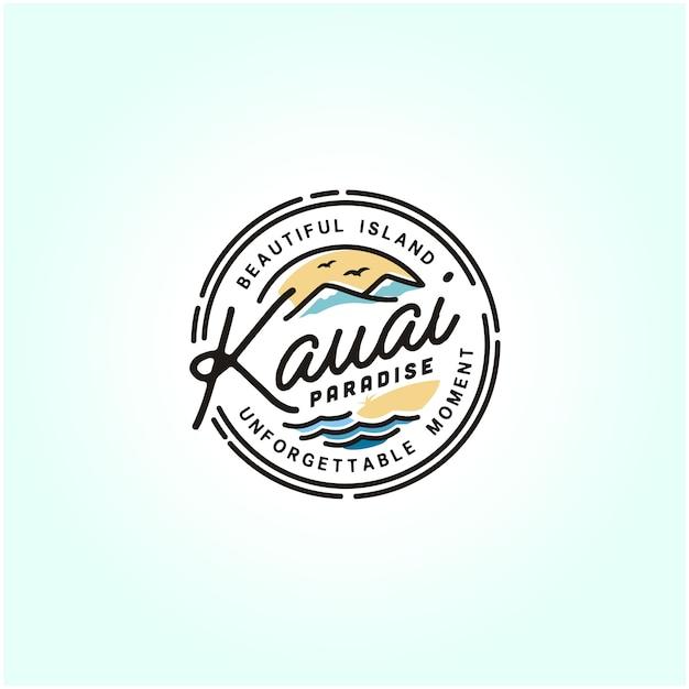 Kauai hawaii beach stamp logo Premium Vector