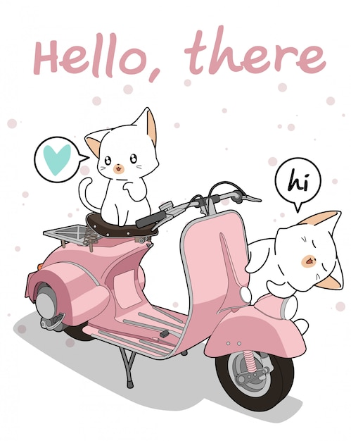 Kawaii 2 white cat with motorcycle Premium Vector