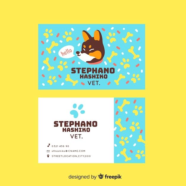 Шаблон визитной карточки kawaii животных символов Бесплатные векторы