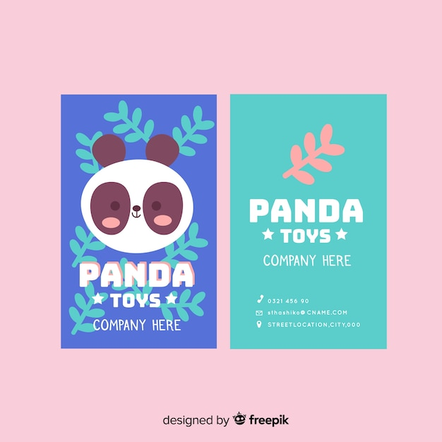 Kawaii animal character business card template Free Vector