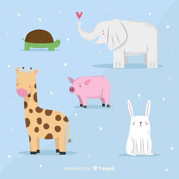 Kawaii animal collection in childrens style Free Vector