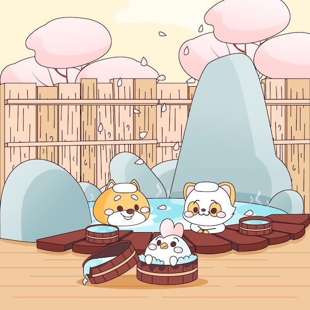 Kawaii animal friends taking a bath in onsen Free Vector