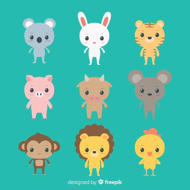Kawaii animals pack Free Vector