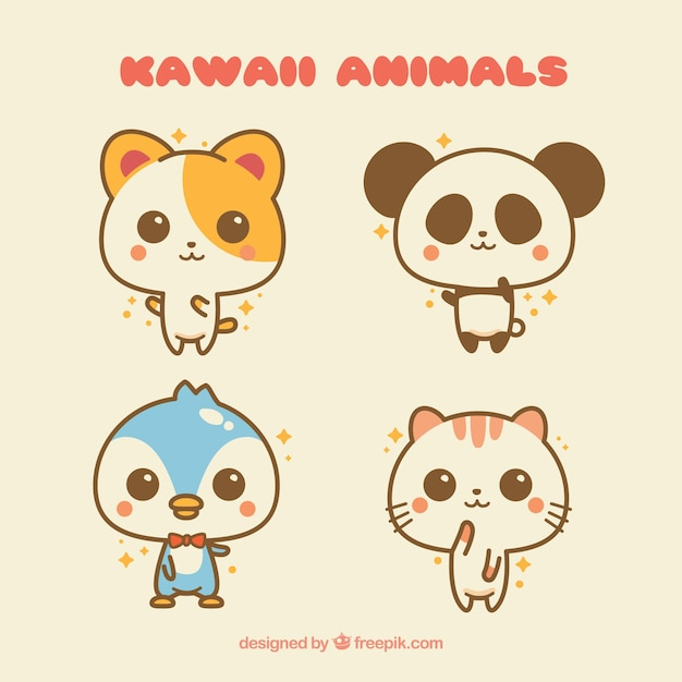 Image of: Cute Animals Demo 24 Freepik Kawaii Animals Set Vector Free Download