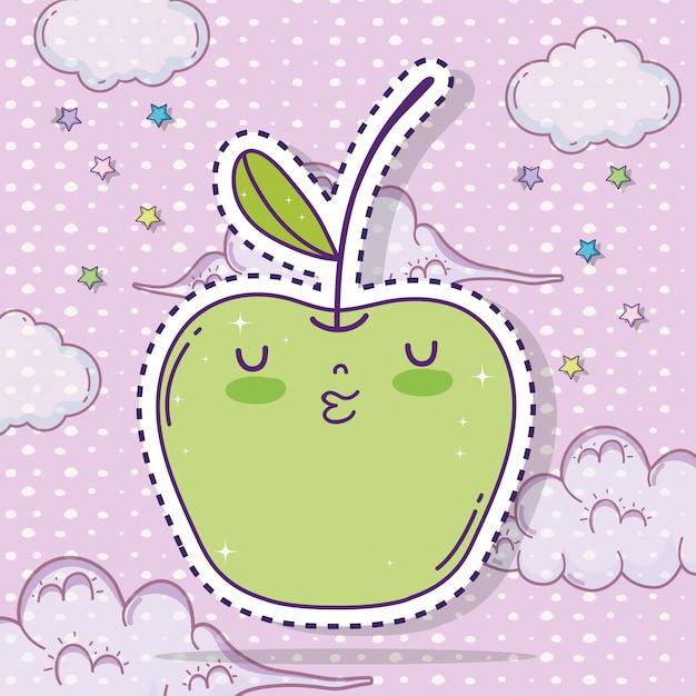 Kawaii apple fruit sticker with clouds Premium Vector