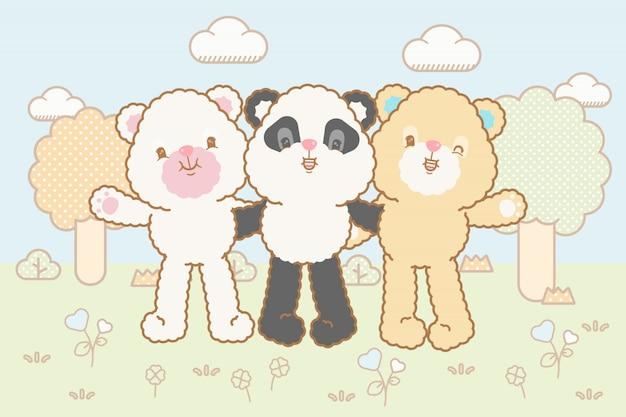 Kawaii baby медведи установлены Premium векторы