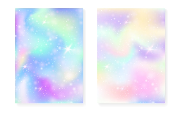Kawaii background with rainbow princess gradient. magic unicorn hologram. Premium Vector