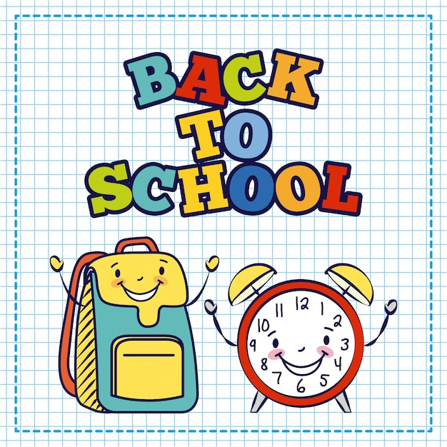 Kawaii bag and alarm clock, back to school Free Vector