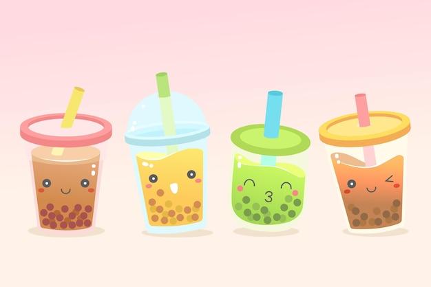 Kawaii стиль коллекции пузырькового чая Premium векторы