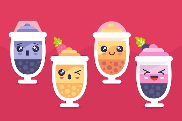 Коллекция пузырькового чая kawaii Бесплатные векторы