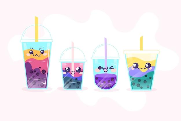 Каваи пузырь чай иллюстрация Бесплатные векторы