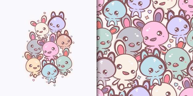 Kawaii bunnies and cats print and seamless pattern Premium Vector
