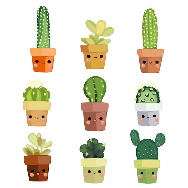 Kawaii cactus illustration Premium Vector