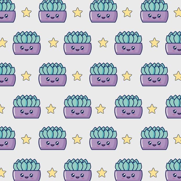 Kawaii cactus pot Free Vector