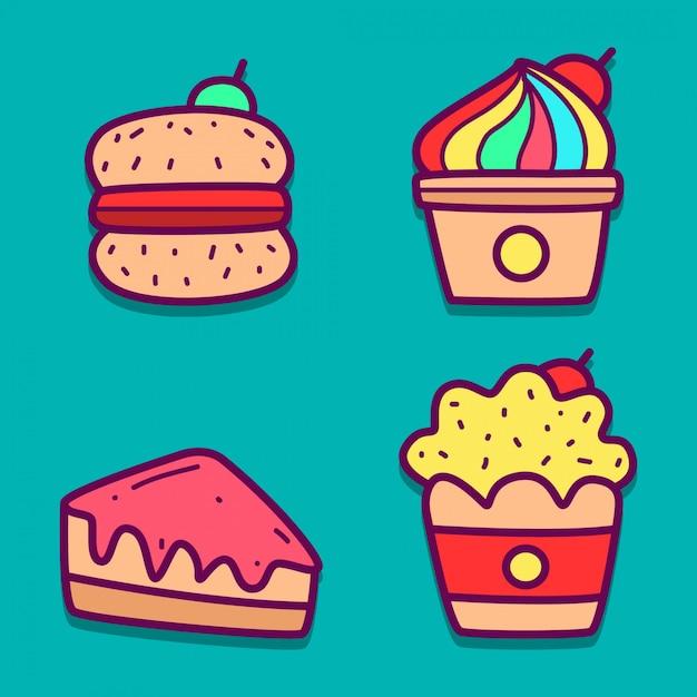 かわいい漫画の食べ物の落書き Premiumベクター