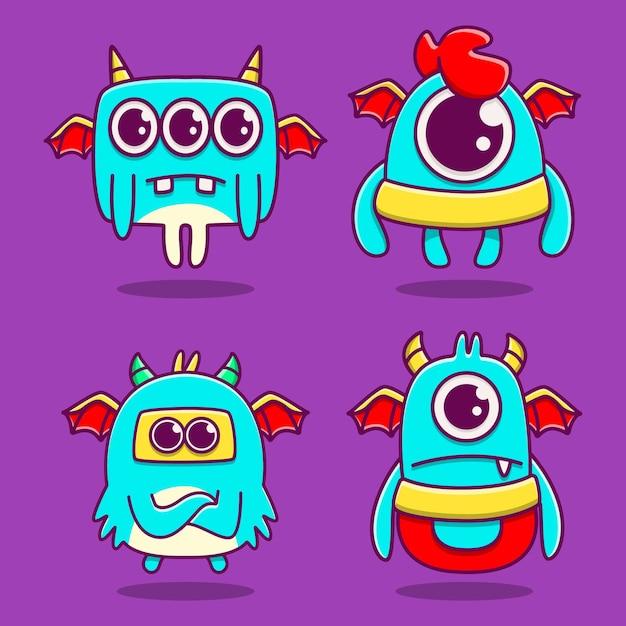 Kawaii 만화 괴물 낙서 디자인 일러스트 레이션 프리미엄 벡터