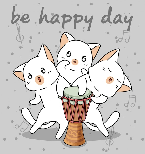Kawaii cat characters with a drum Premium Vector