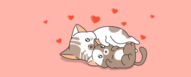 Kawaii cat couple hugging with love Premium Vector