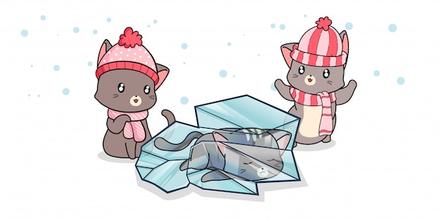 Kawaii кошка внутри льда с друзьями в зимний день Premium векторы