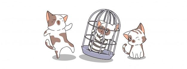 かわいい猫が刑務所で逮捕される Premiumベクター