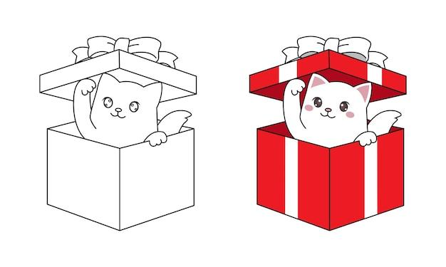 クリスマスプレゼントのギフトボックスの中から覗くかわいい猫。子供のページを着色するための手描きのラインアート。 Premiumベクター