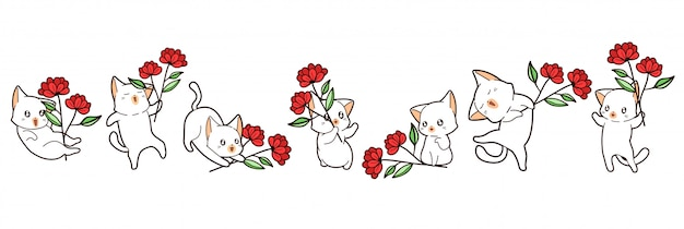 Kawaii cats are holding flower Premium Vector