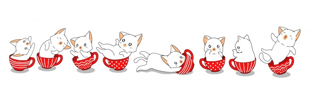 Kawaii cats in cups Premium Vector