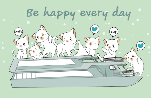 Kawaii cats in the ferryboat Premium Vector
