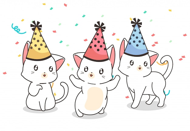 Kawaii cats in the party Premium Vector