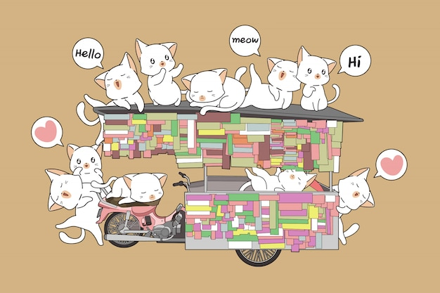 Kawaii cats on the portable stall Premium Vector