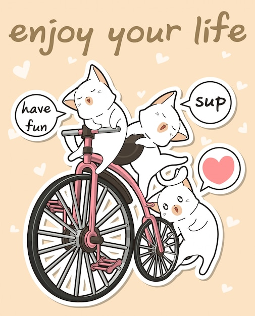 Kawaii cats with a vintage bicycle Premium Vector