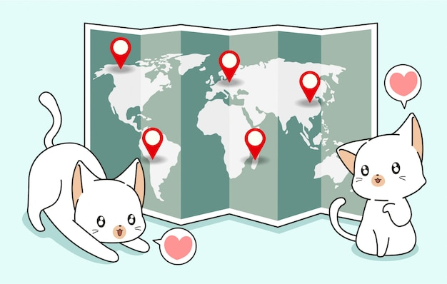 Kawaii cats and world map with location pins Premium Vector