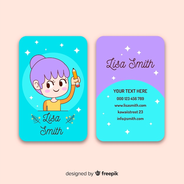 Kawaii character business card template Free Vector