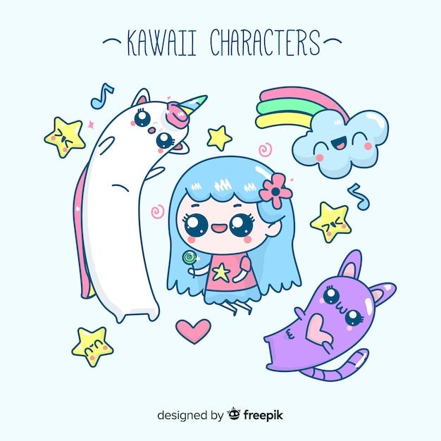 Kawaii character collection Free Vector