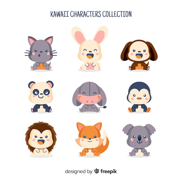 Kawaii character collection Free Vector