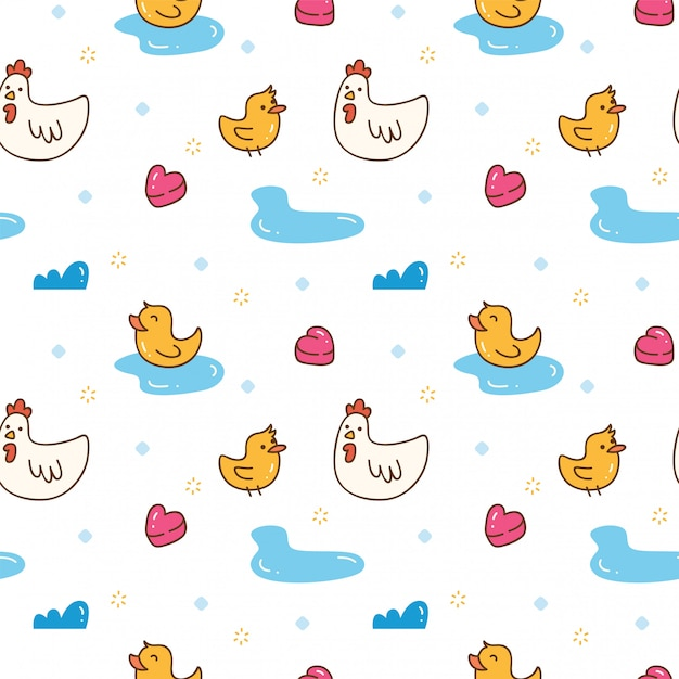 Kawaii chicken and duck seamless background Premium Vector