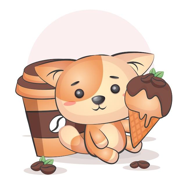 かわいいコーヒーカップと猫のアイスクリーム Premiumベクター