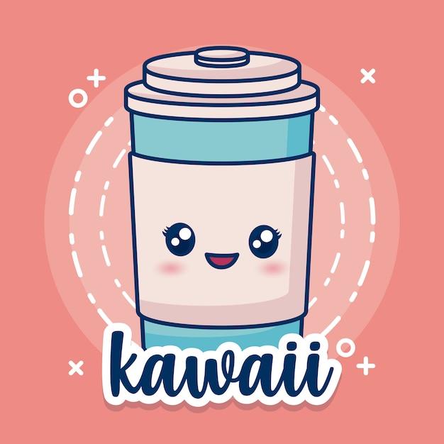 Kawaii coffee cup icon Free Vector