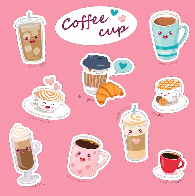 Kawaii coffee cups with different hot drinks. Premium Vector