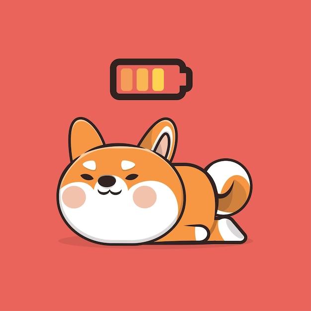 カワイイかわいい動物眠る犬のアイコンマスコットイラスト Premiumベクター