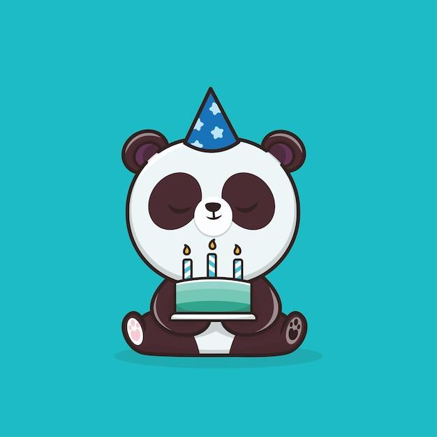 バースデーケーキアイコンマスコットイラストとカワイイかわいい動物野生動物パンダ Premiumベクター