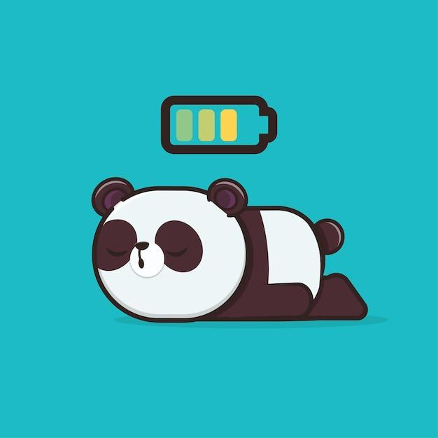 カワイイかわいい動物野生動物スリーピングパンダアイコンマスコットイラスト Premiumベクター