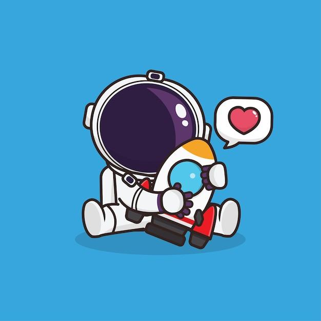 ロケットアイコンのマスコットイラストとカワイイかわいい宇宙飛行士 Premiumベクター