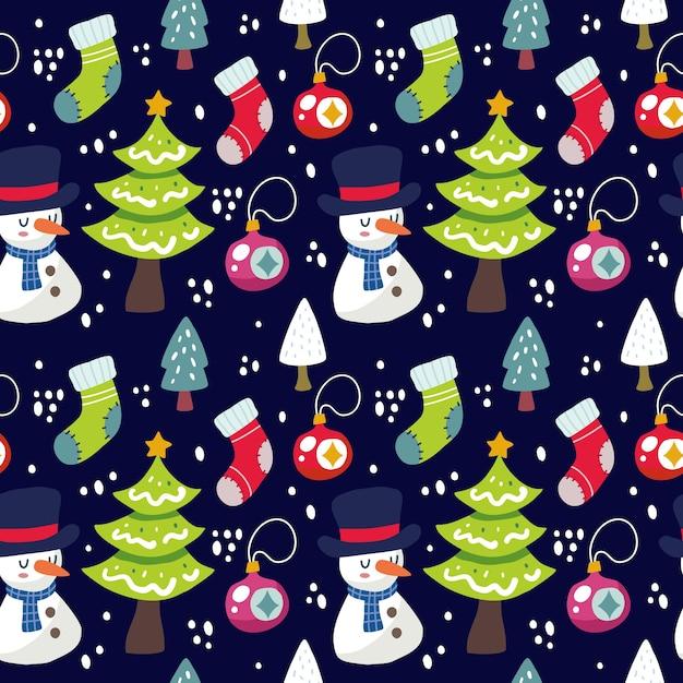 귀여운 귀여운 크리스마스 원활한 패턴 배경입니다. 직물 등에 사용할 수 있습니다. 프리미엄 벡터