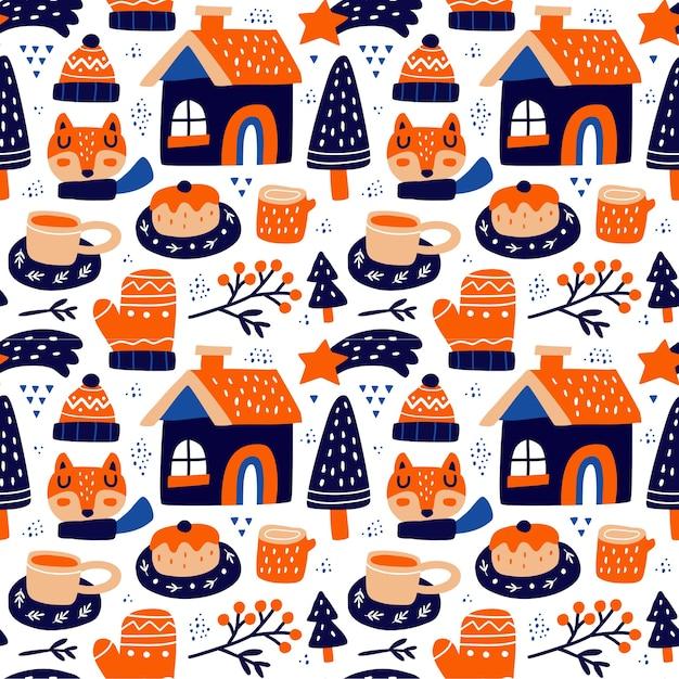 스칸디나비아 스타일의 Kawaii 귀여운 크리스마스 완벽 한 패턴입니다. 직물 등에 사용할 수 있습니다. 프리미엄 벡터