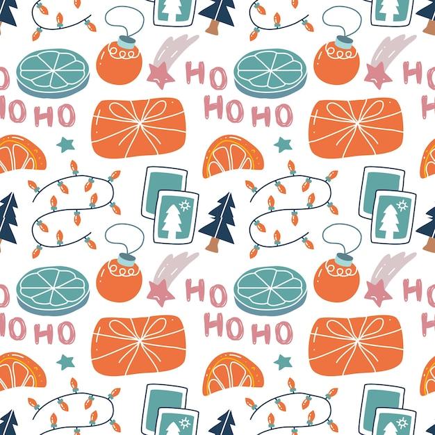 スカンジナビアスタイルのカワイイかわいいクリスマスシームレスパターン。 Premiumベクター
