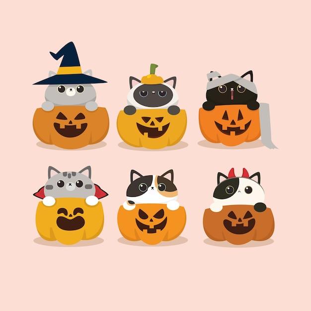 カワイイかわいいフラットデザインハロウィン猫とかぼちゃセット Premiumベクター