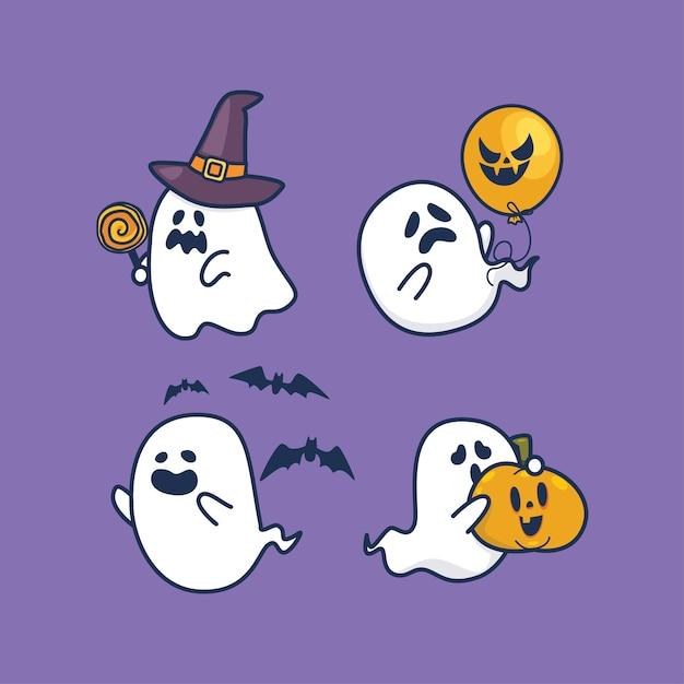Набор призраков хэллоуина каваи милый плоский дизайн Premium векторы