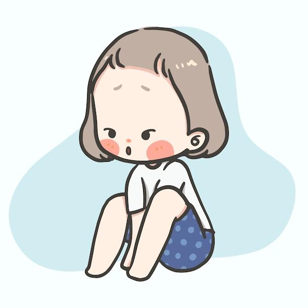 Kawaii cute girl with varieties action and feeling Premium Vector