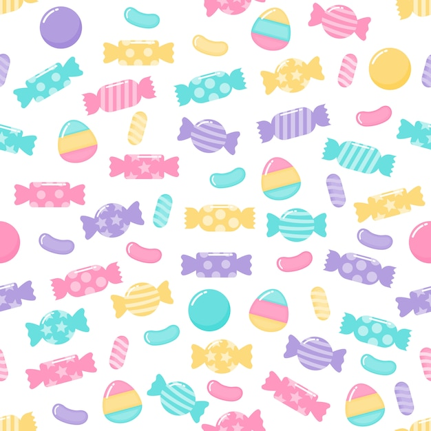 Kawaii cute pastel candy sweet desserts seamless pattern with different types on white background for cafe or restaurant. Premium Vector